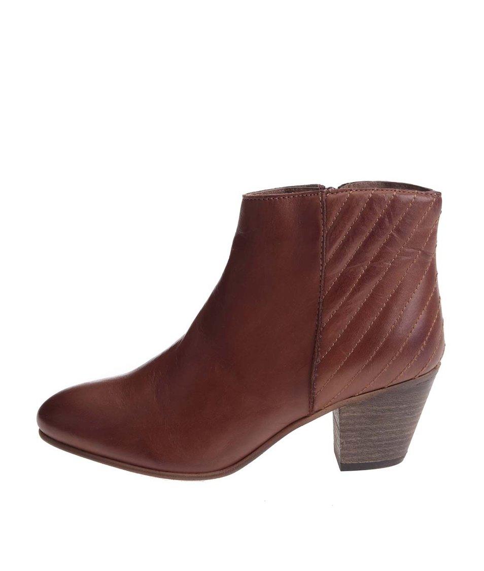 Hnědé kožené kotníkové boty ALDO Cadosein