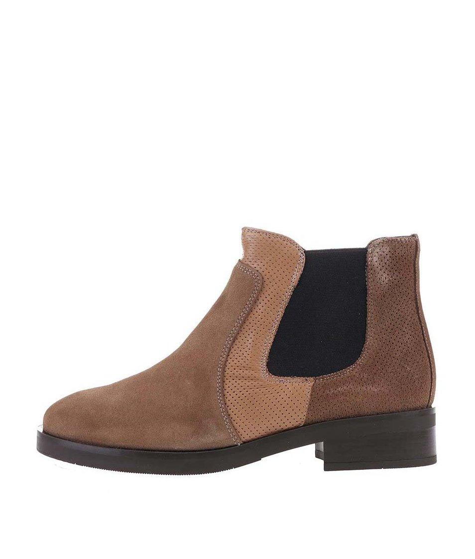 Hnědé kožené kotníkové chelsea boty OJJU