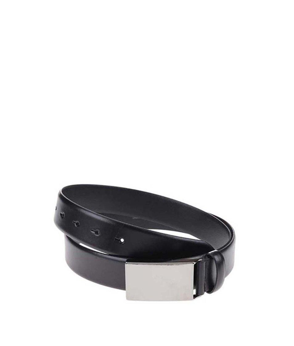 Černý hladký kožený pásek s přezkou Selected Homme Marc Latin