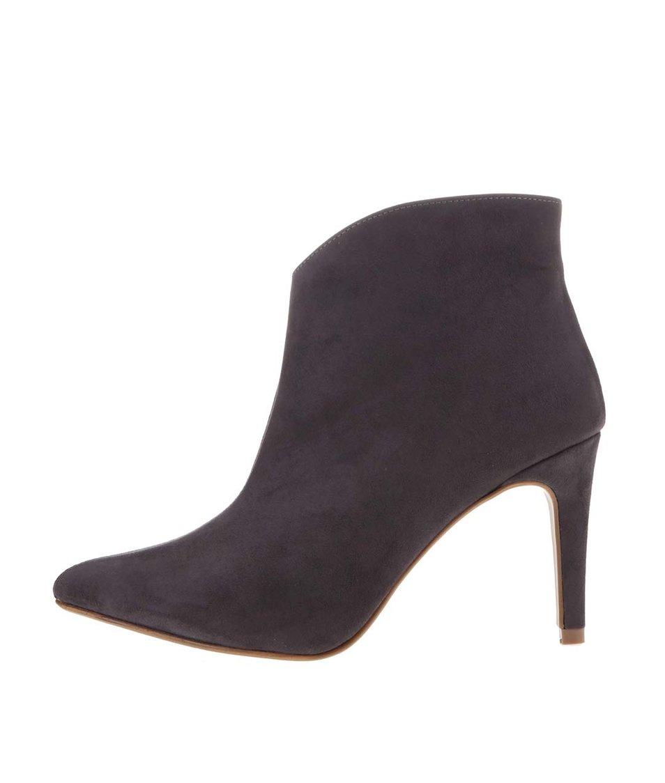 Tmavě šedé boty na podpatku OJJU