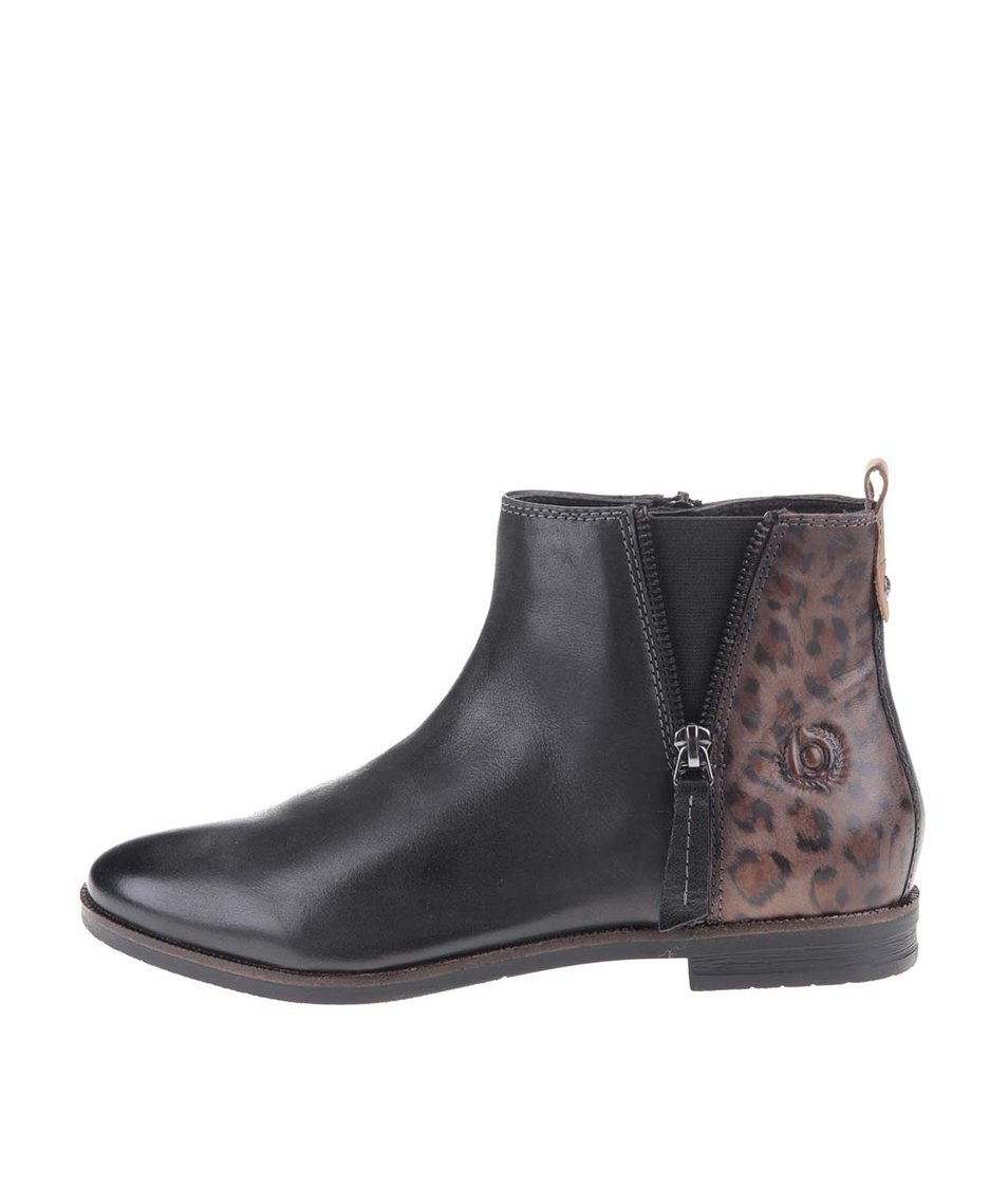 Černé dámské kožené kotníkové boty s leopardím vzorem bugatti Faith