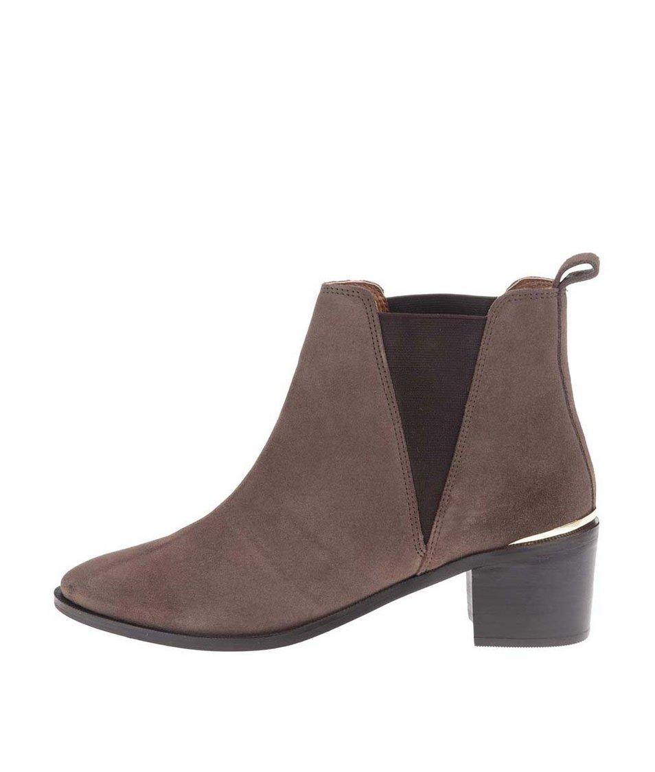 Světle hnědé kožené kotníkové boty Dorothy Perkins