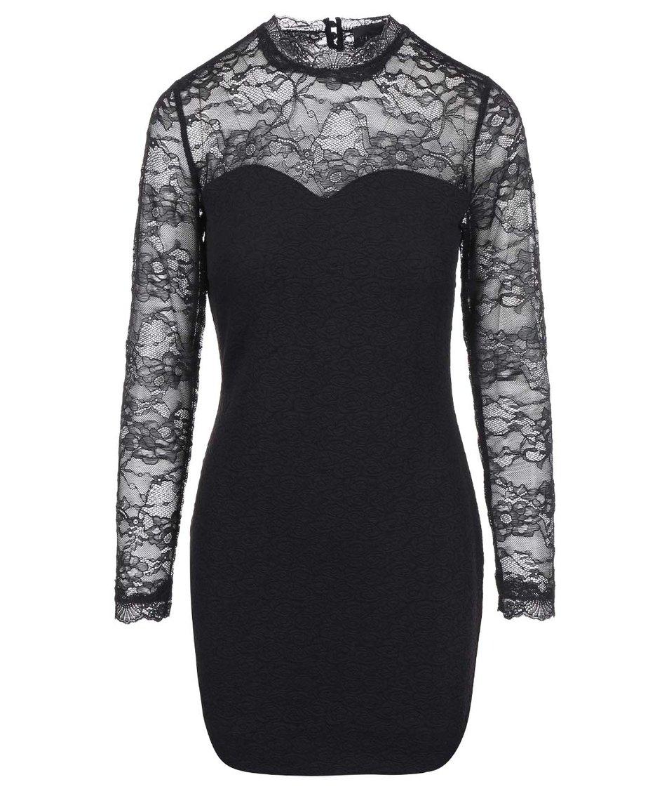 Černé pouzdrové šaty s krajkou VILA Perfecta