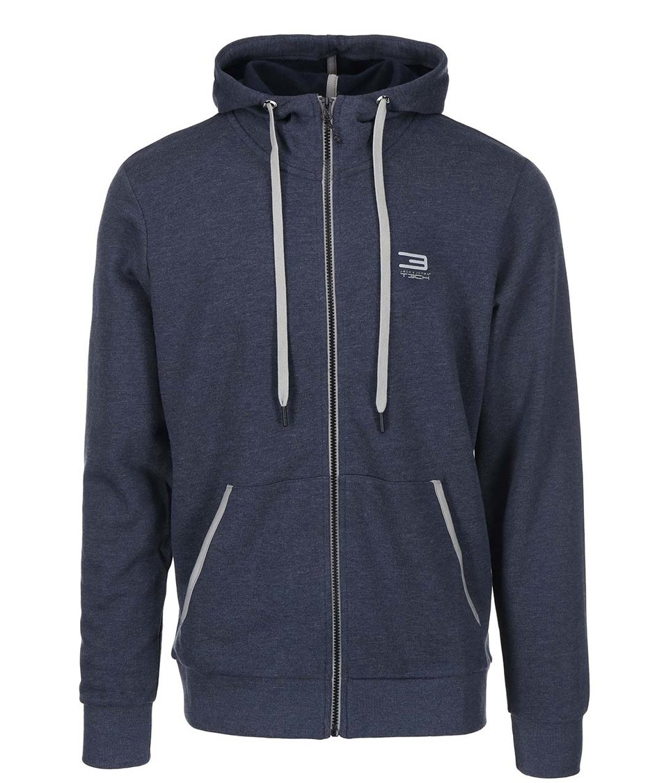 Modrá mikina na zip Jack & Jones Tech Slider