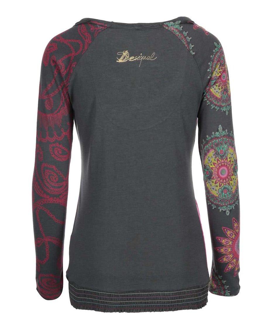 Khaki tričko s růžovým vzorem Desigual Polynne