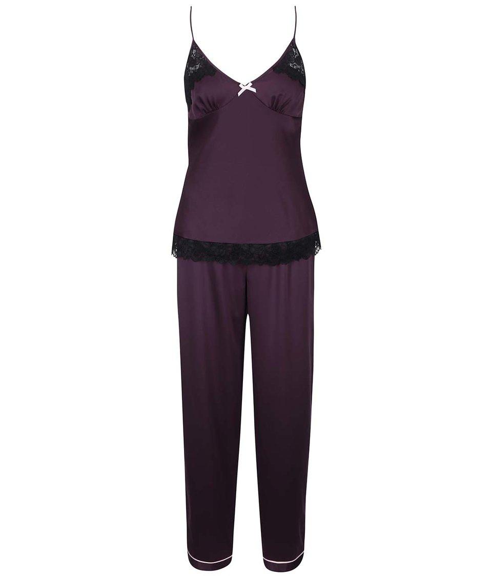 Fialové pyžamo s černou krajkou Lipsy