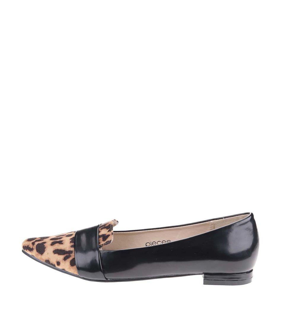Černé mokasíny s leopardím vzorem Pieces Vani