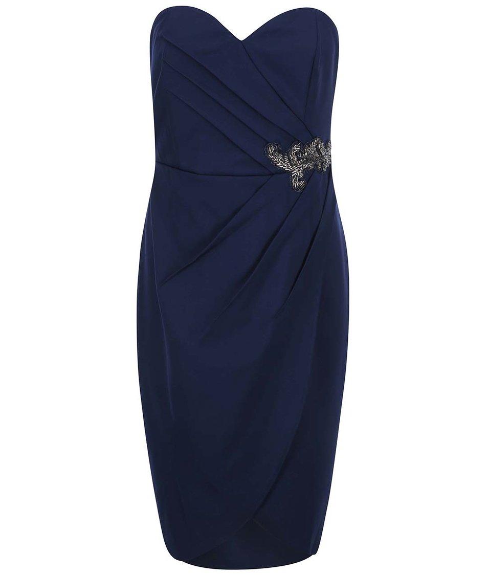 Tmavě modré šaty bez ramínek Little Mistress