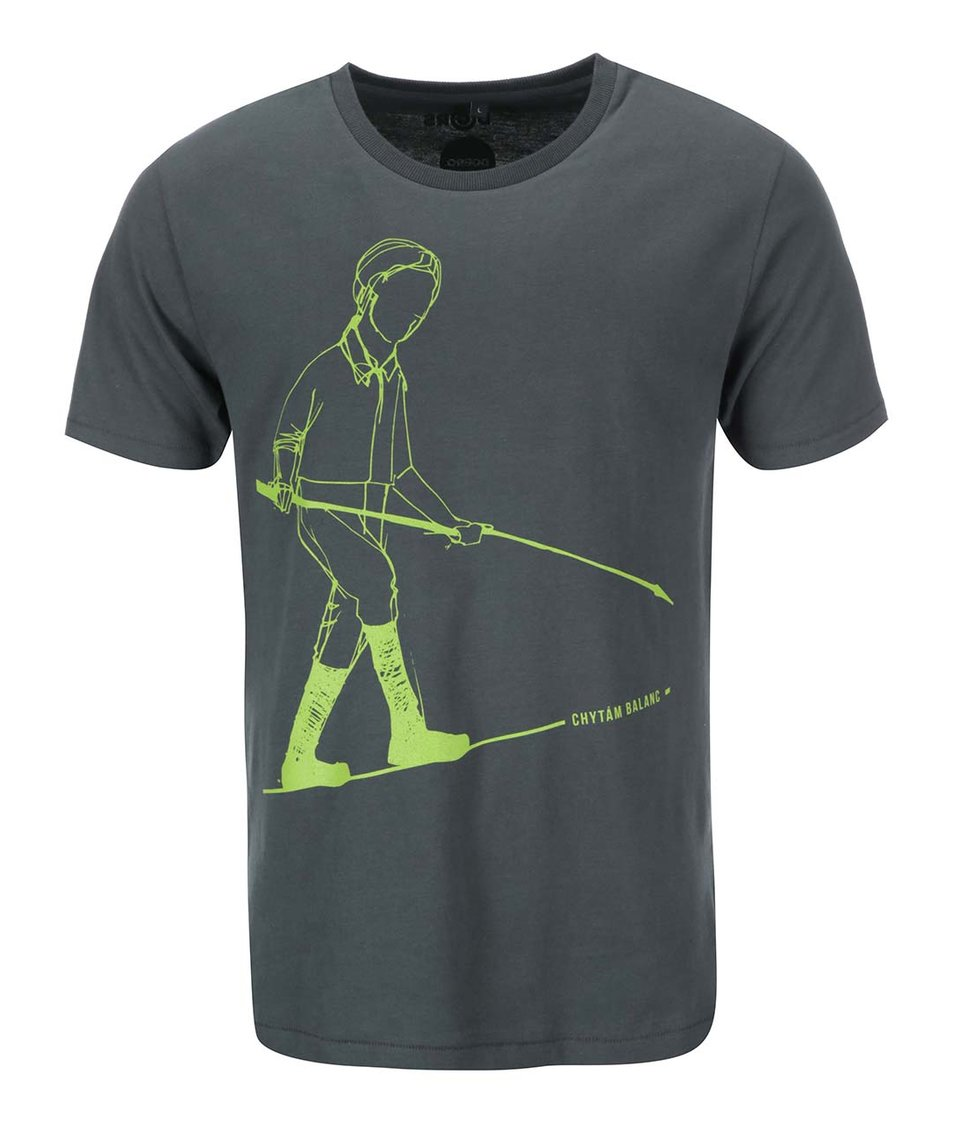 """""""Dobré"""" zelenošedé pánské triko s potiskem pro Green Doors"""