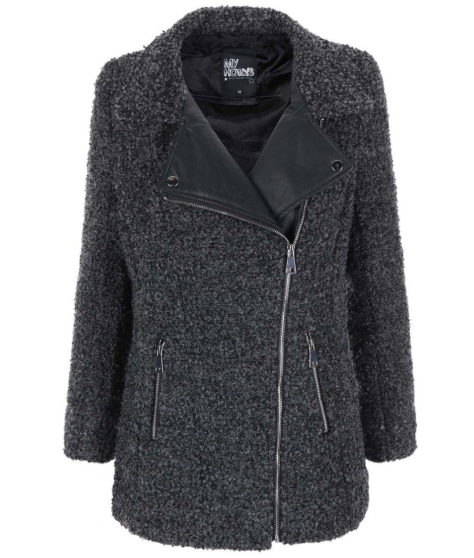 Šedý kabát s koženkovými detaily Haily´s Teva