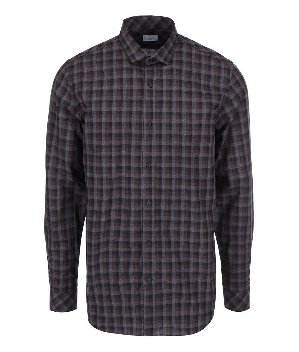 Šedo-hnědá kostkovaná košile Selected Homme James