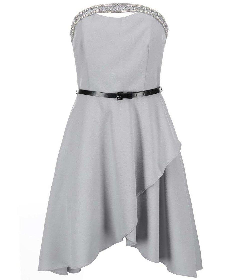 Šedé šaty s asymetrickou sukní Little Mistress
