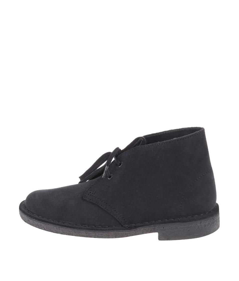 Tmavě modré dámské kožené kotníkové boty Clarks Desert Boot