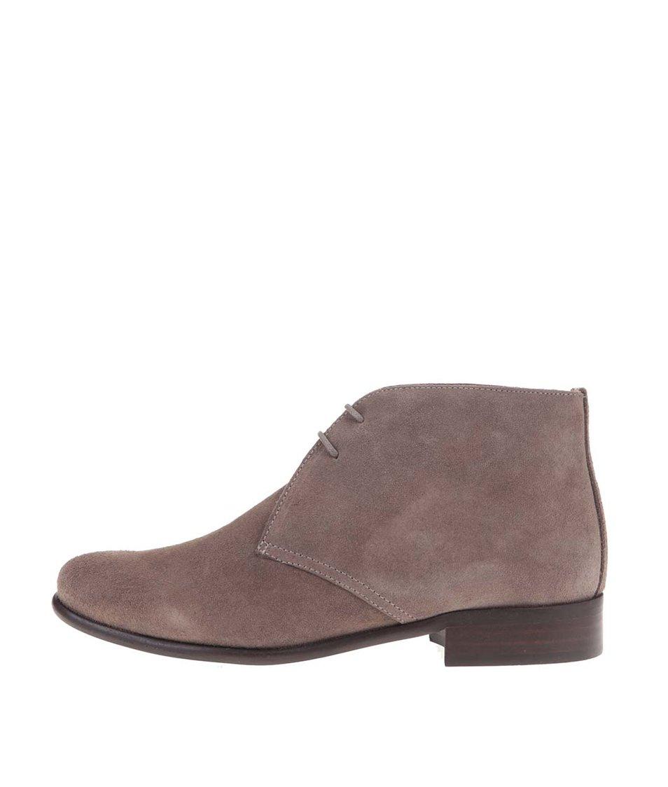 Šedohnědé kožené kotníkové boty se semišovou úpravou OJJU