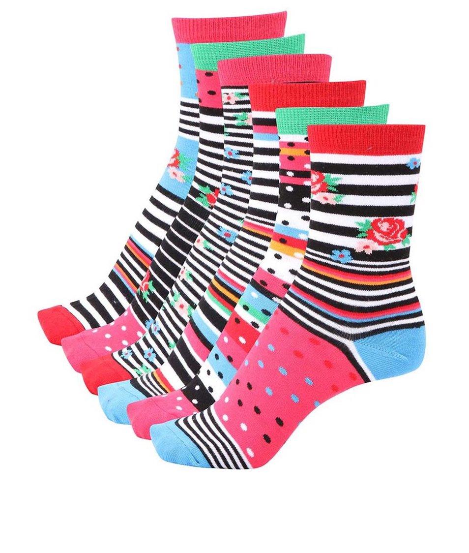 Sada šesti barevných dámských ponožek Oddsocks Cotton Kandy