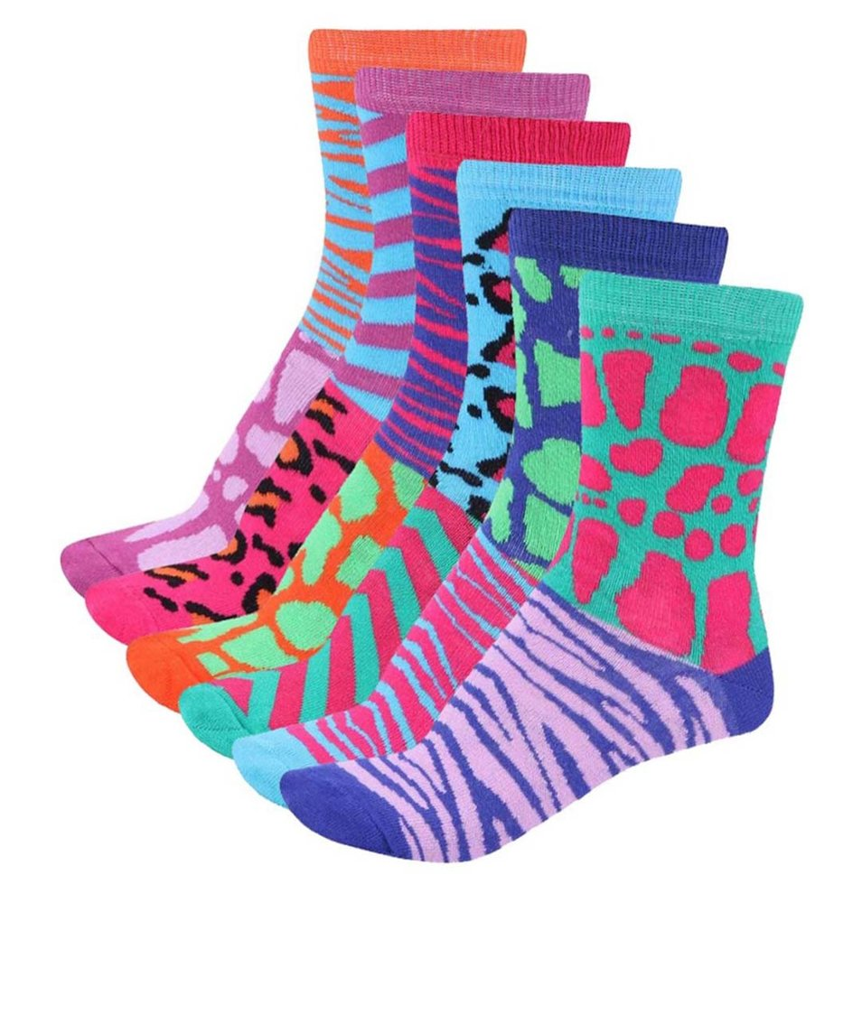 Sada šesti barevných dámských ponožek Oddsocks Glamazon
