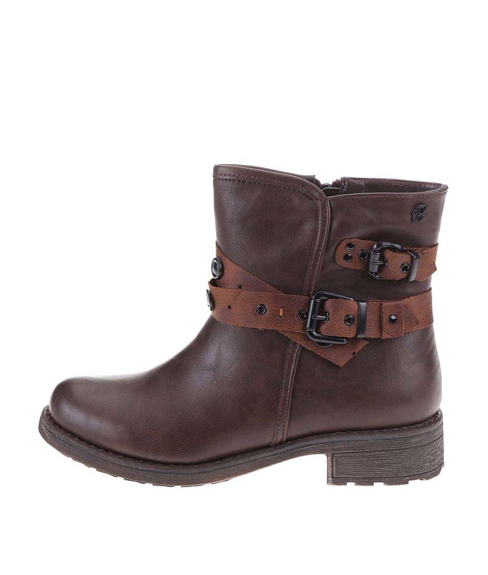 Hnědé vyšší kotníkové boty s přezkami Refresh