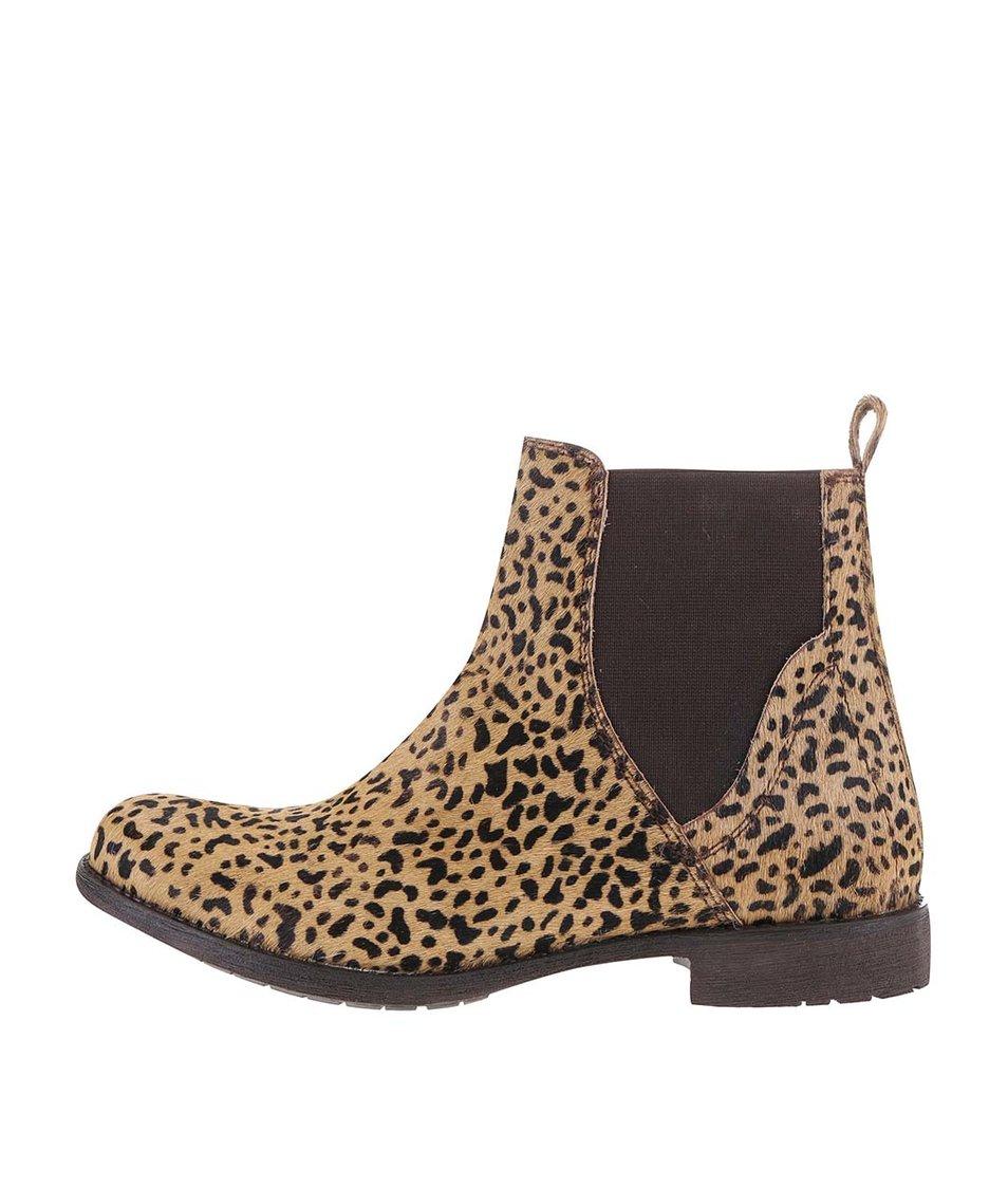 Hnědo-béžové dámské kožené kotníkové boty Bullboxer