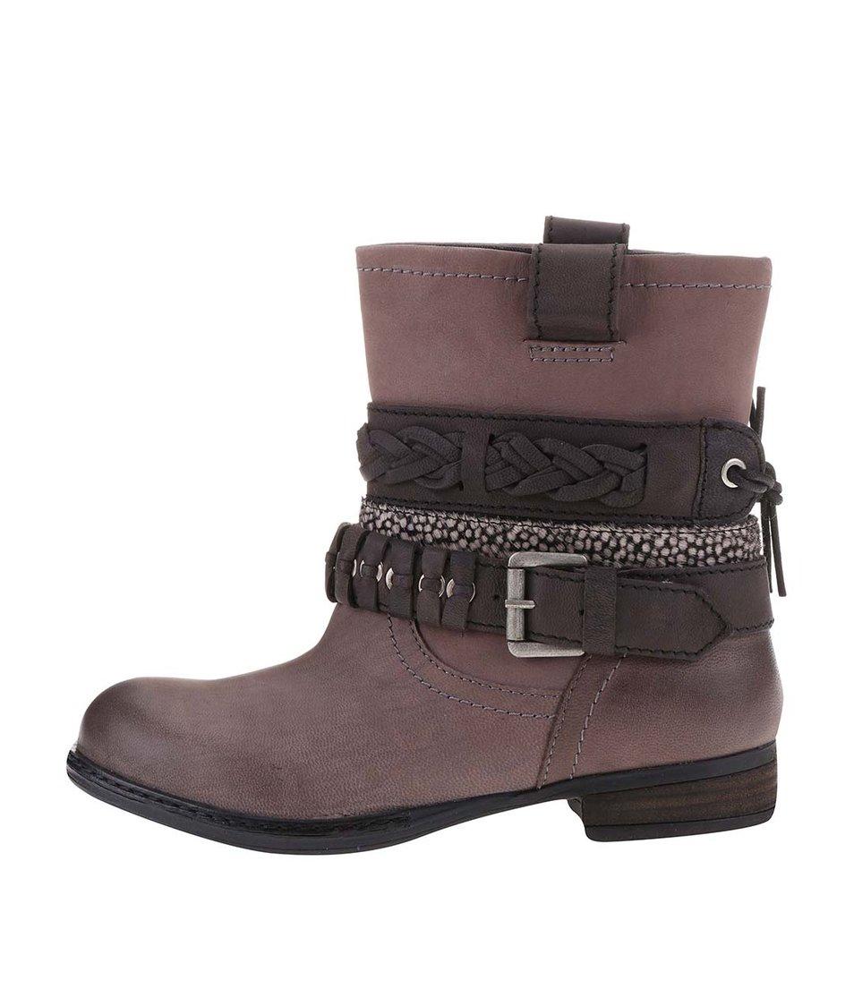 Šedo-hnědé dámské kožené boty s ozdobnými pásky Bullboxer