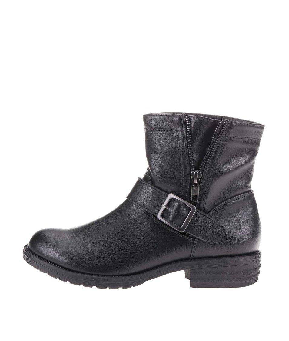 Černé kotníkové boty s přezkou Pieces Sute