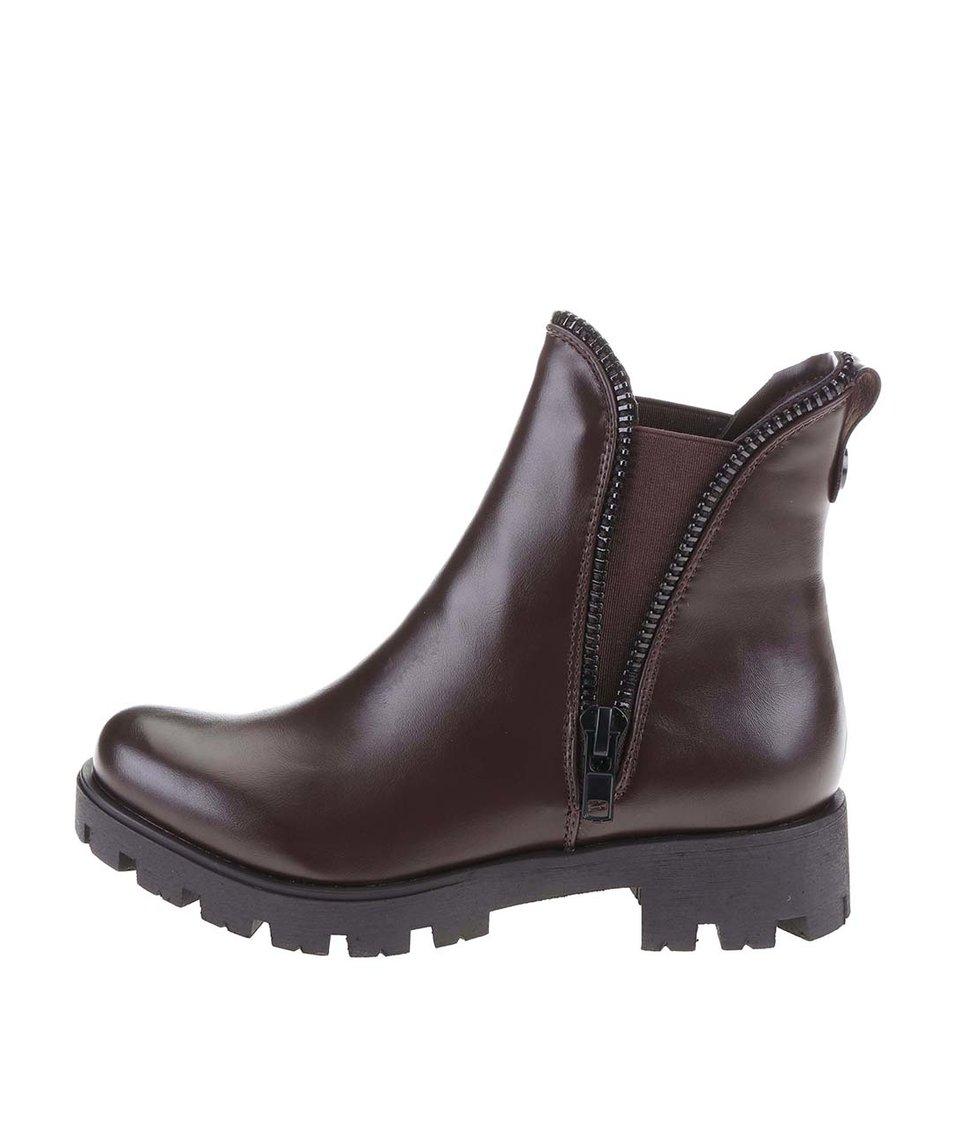 Tmavě hnědé kotníkové boty s ozdobným zipem Xti