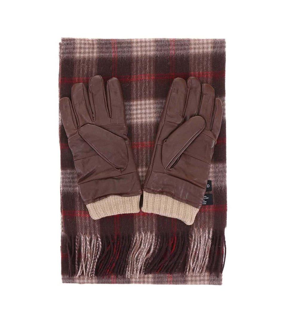 Dárkové balení hnědých kožených rukavic a vlněné šály Portland