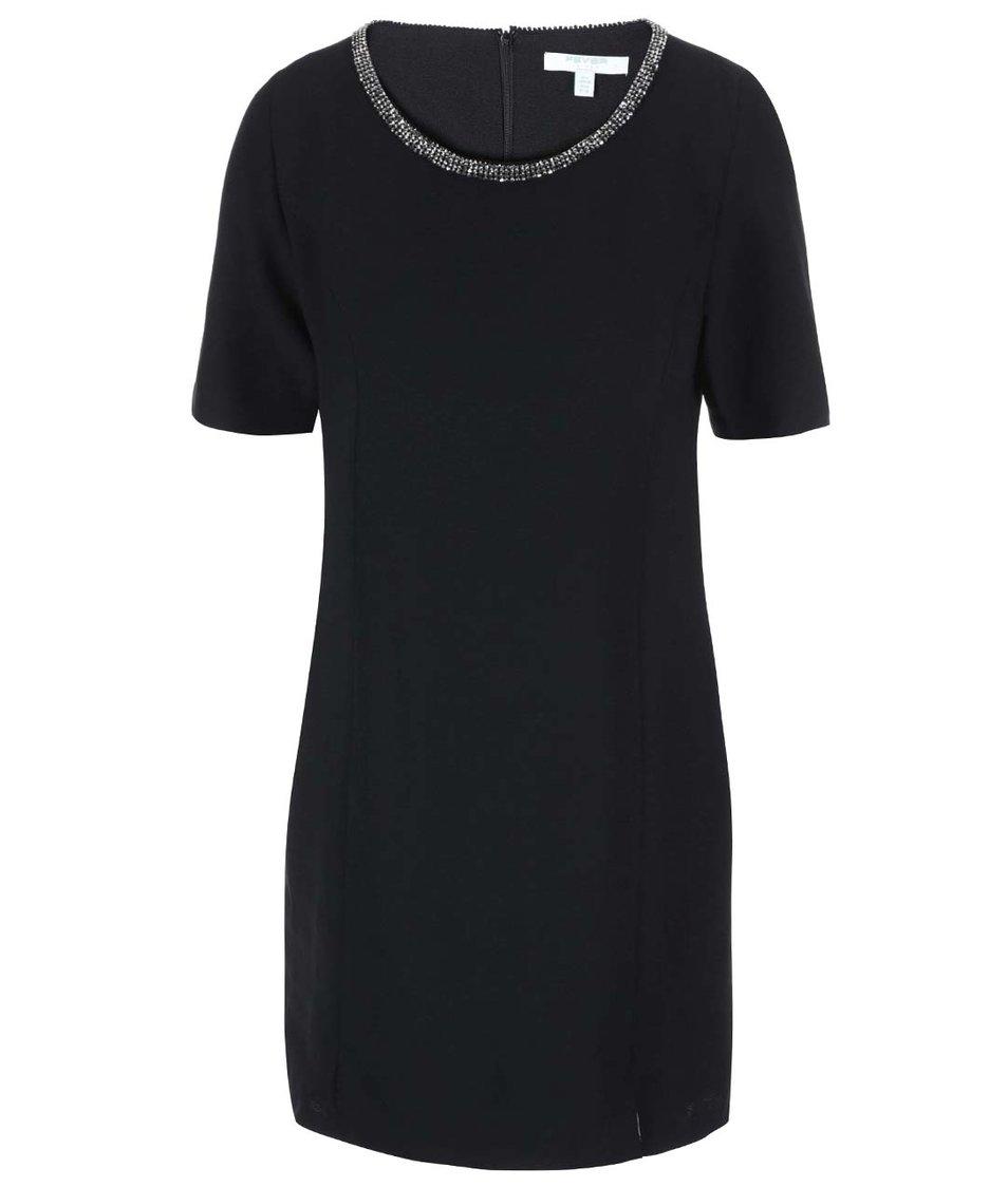 Černé šaty se zdobením kolem krku Fever London Imogen