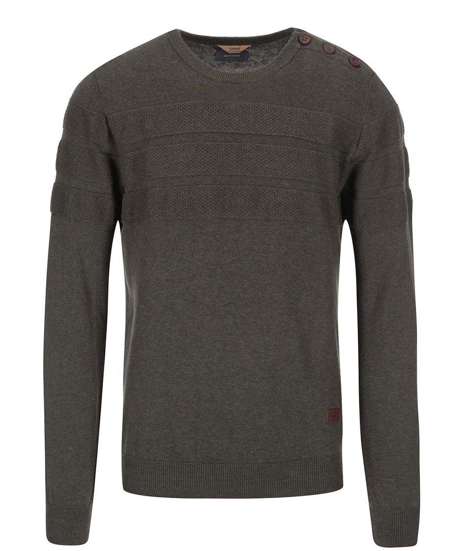 Khaki svetr s kulatým výstřihem Bertoni Laust