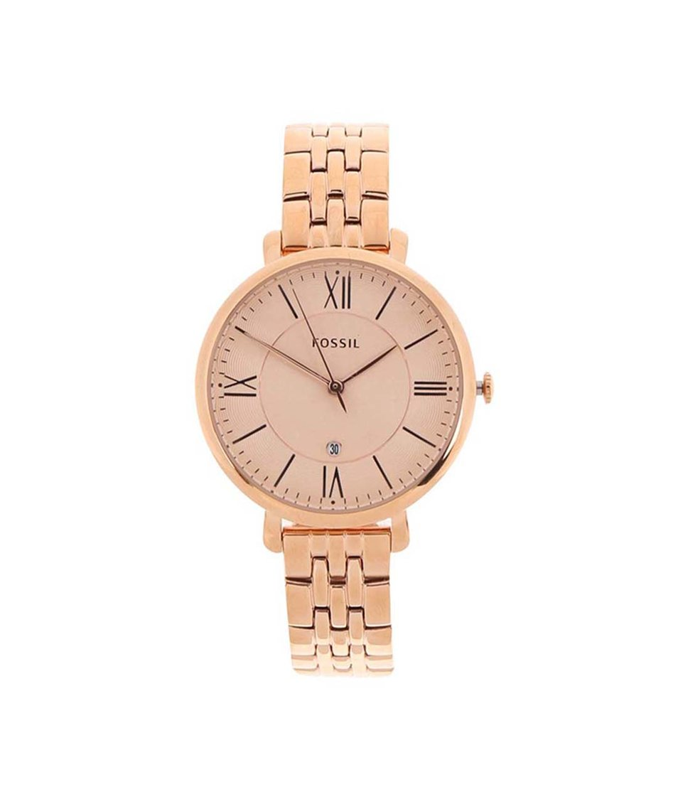 Dámské hodinky v růžovo-zlaté barvě Fossil Jacqueline