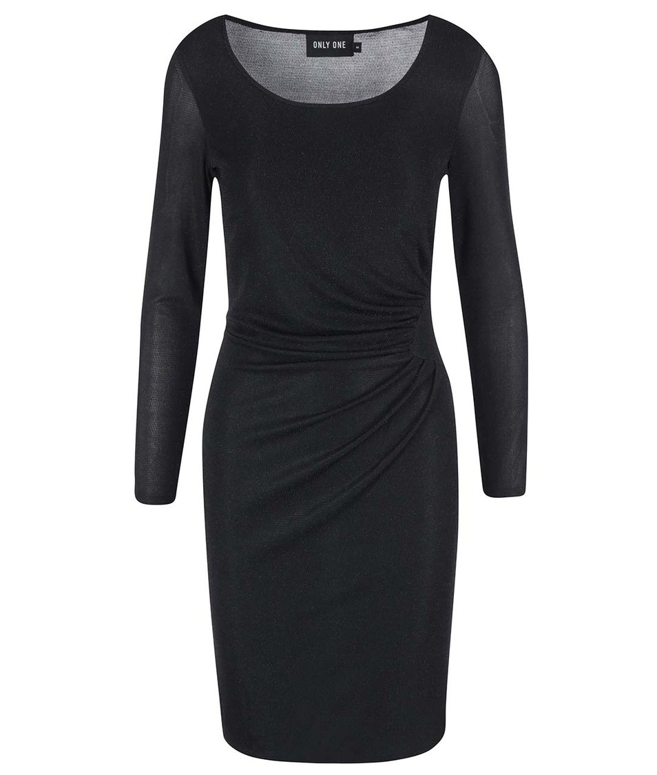 Černé šaty s jemným řasením ONLY Glitta