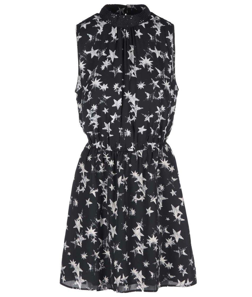 Černé šaty s potiskem hvězd ONLY Tamina