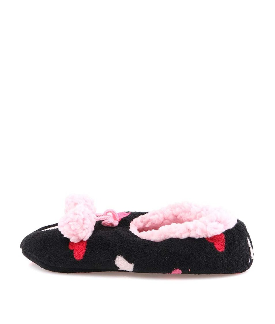 Černé domácí balerínky s růžovými srdíčky Something Special by Moon