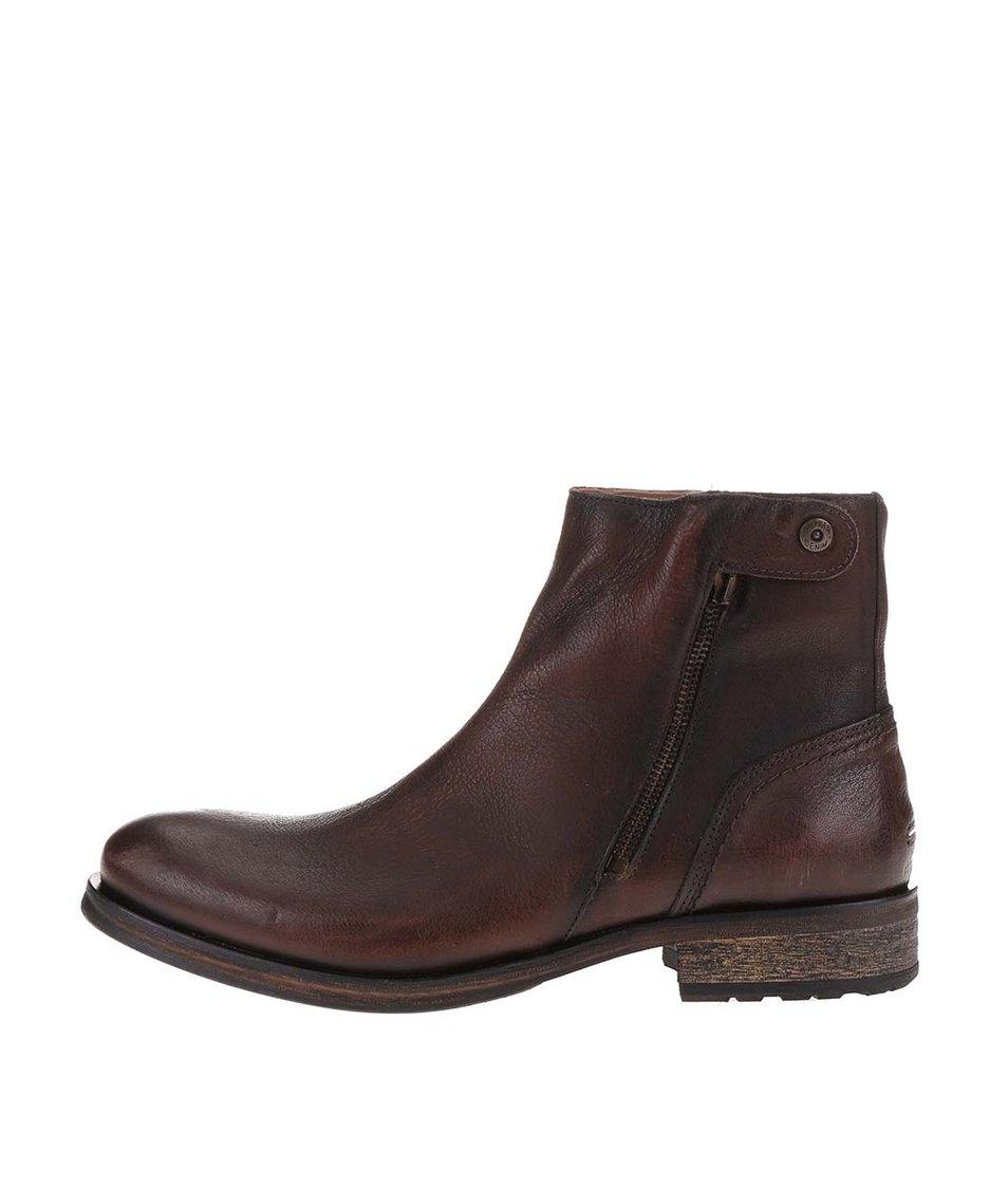 Hnědé pánské kožené kotníkové boty Tommy Hilfiger Dillan