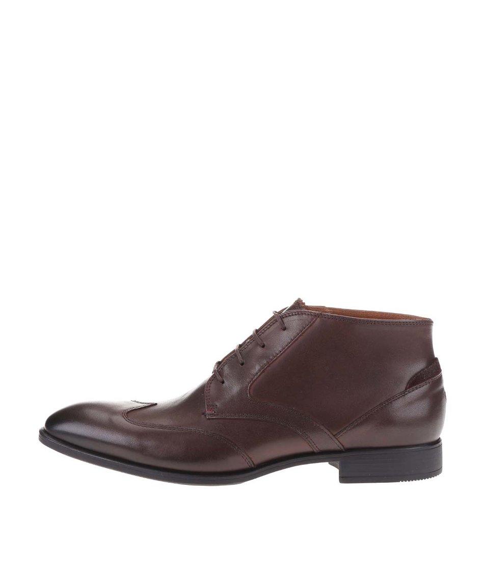Tmavě hnědé kožené pánské kotníkové boty Tommy Hilfiger Tommy Rupert
