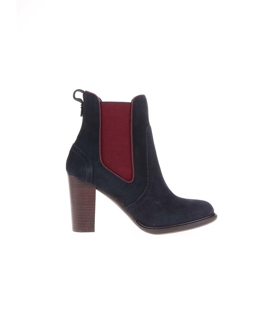 Modré kožené kotníkové boty na podpatku Tommy Hilfiger Betsy