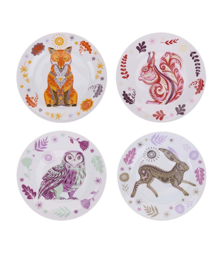 Bílý porcelánový set čtyř talířků s barevným vzorem lesních zvířat Magpie Sideplates