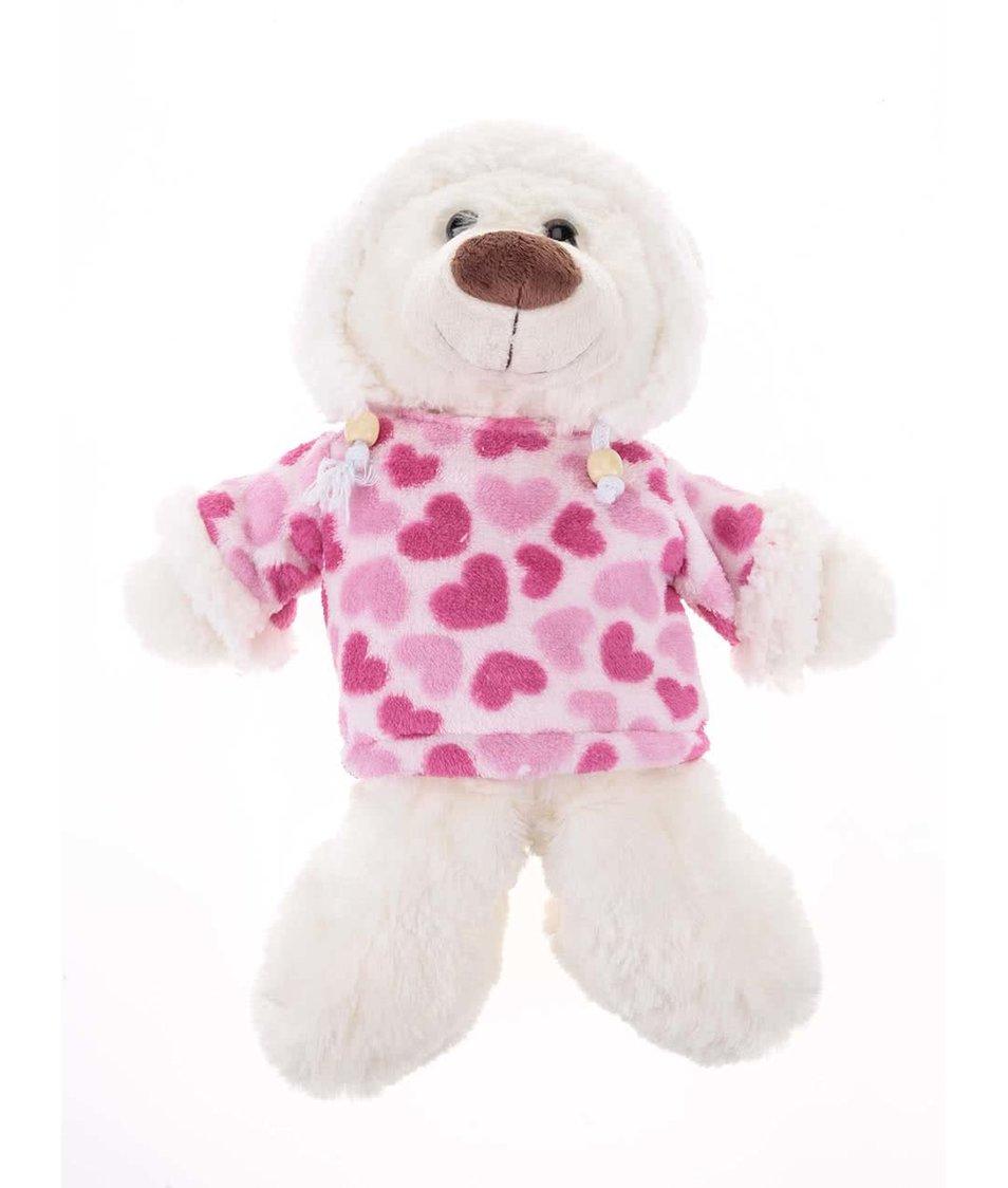 Bílo-růžový plyšový nahřívací medvěd Something Special Hot Huddies