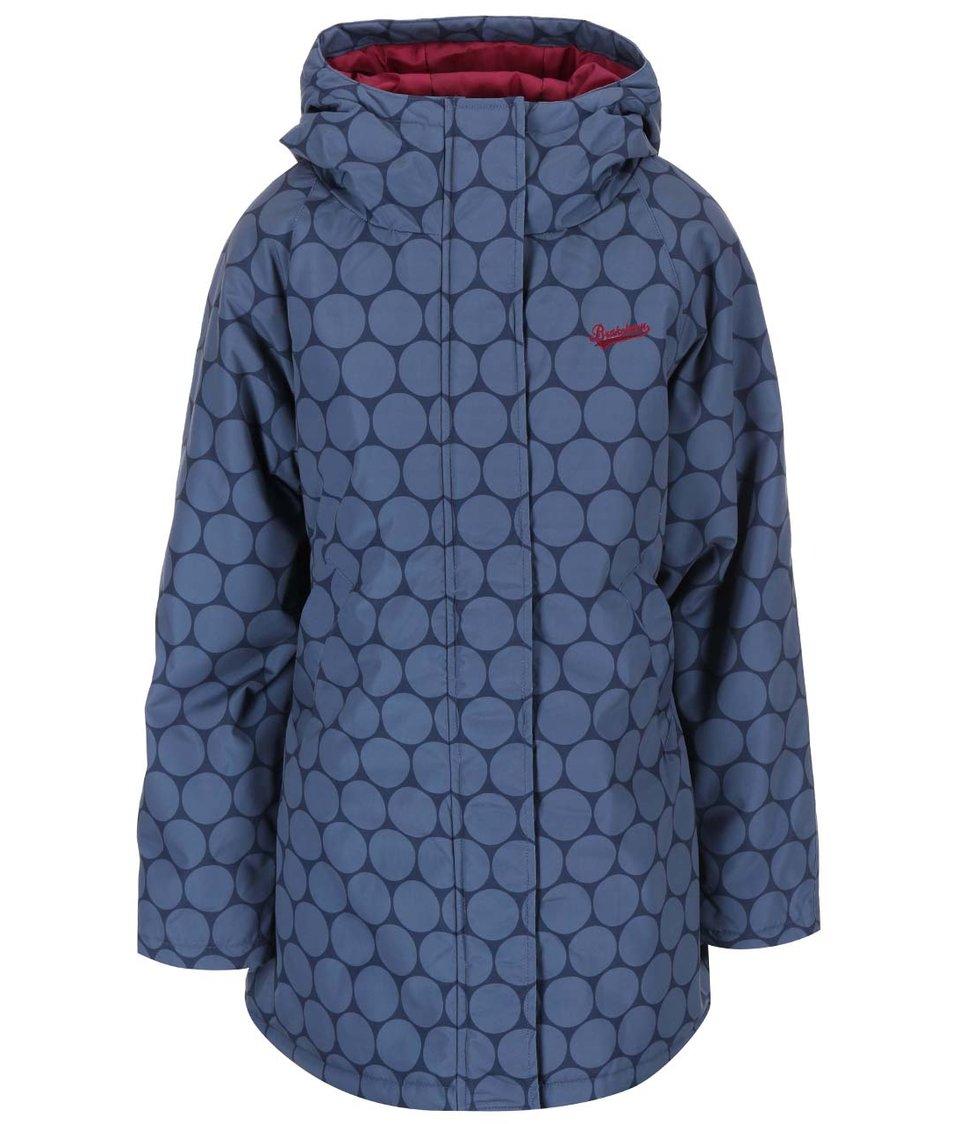Modrá nepromokavá delší bunda s kapucí Brakeburn Navy Circles