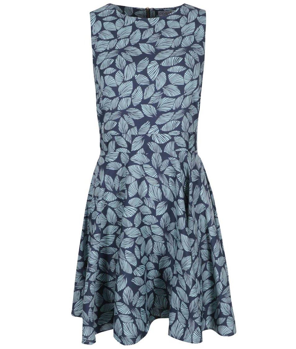 Modré šaty s lístky Closet