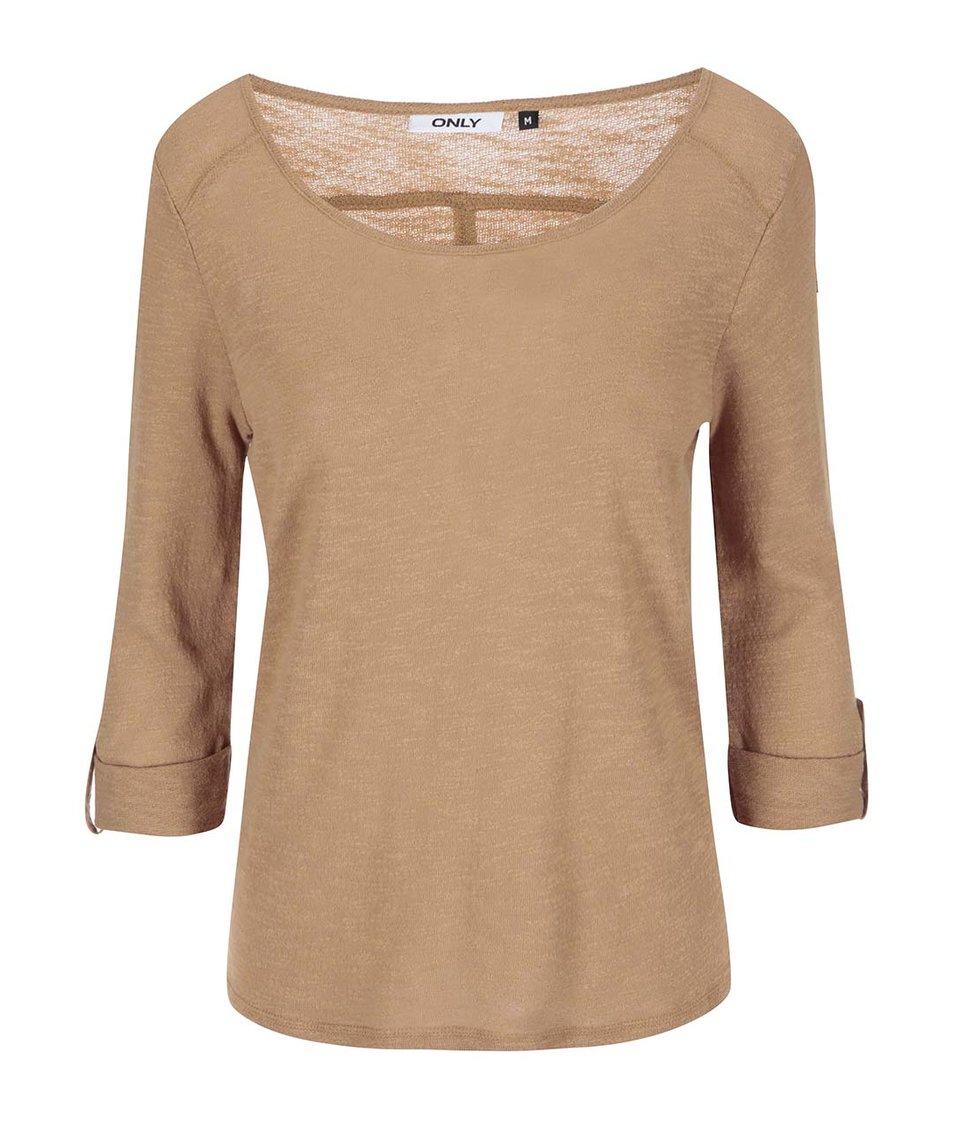 Béžové tričko s 3/4 rukávy ONLY Jess