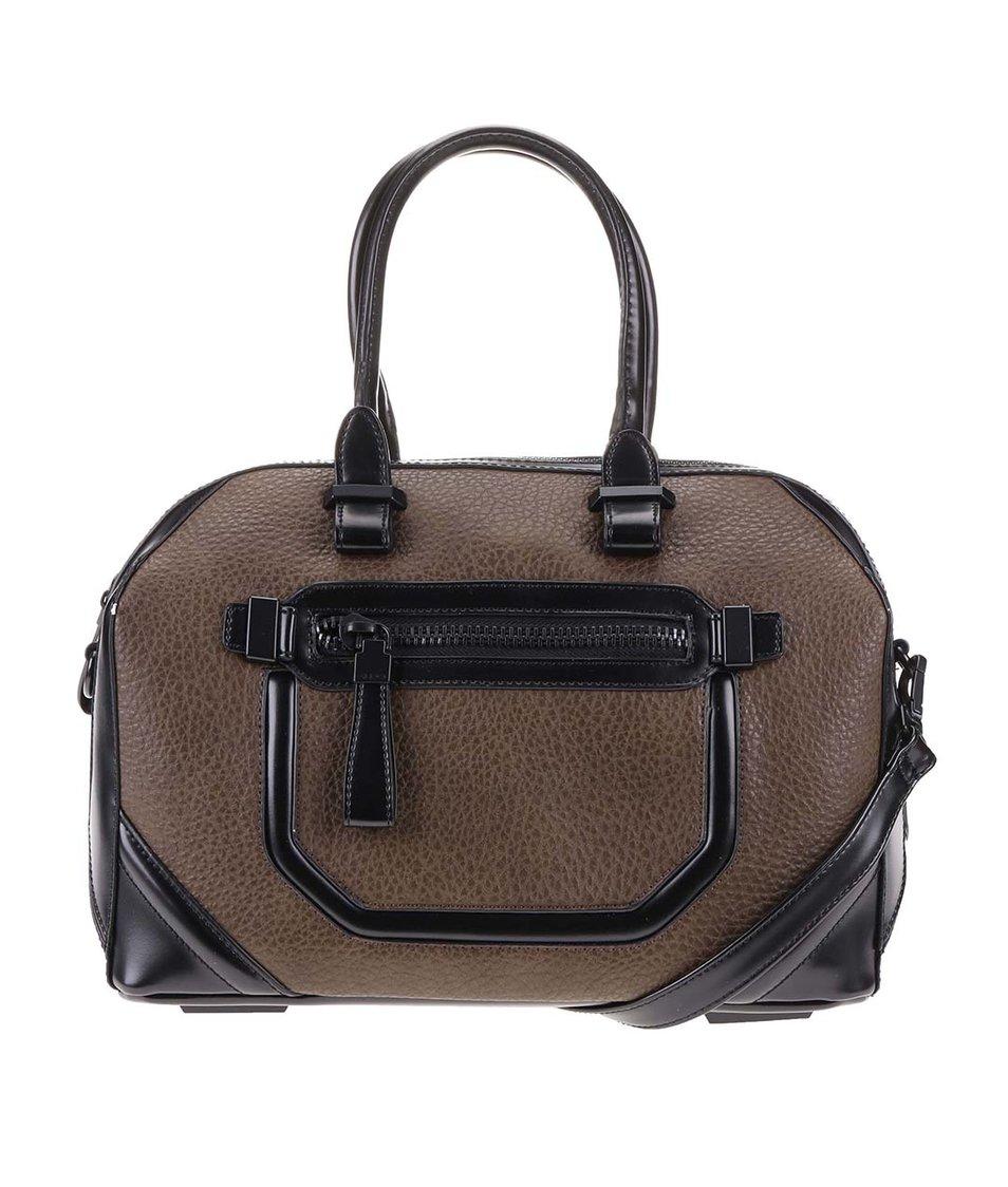 Černo-hnědá kabelka s ozdobnou kapsou ALDO Domodossola