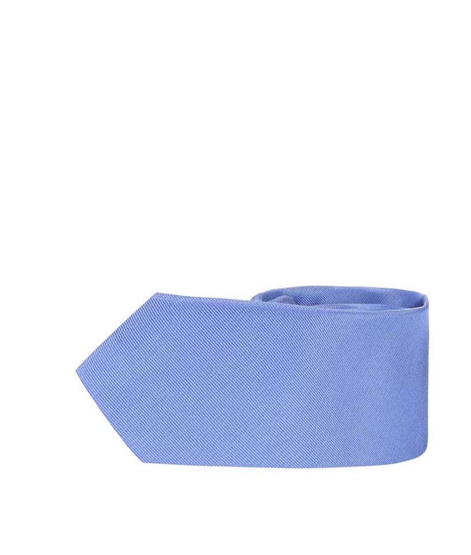 Modrá hedvábná kravata Selected Homme Plain