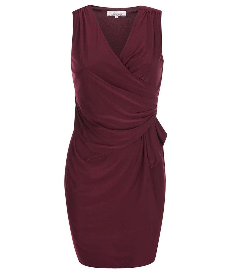 Vínové nařasené šaty Dorothy Perkins Curve