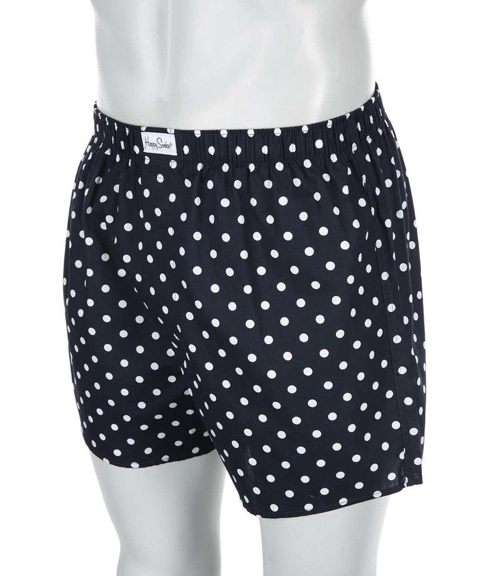Tmavě modré trenýrky s bílými puntíky Happy Socks Dots