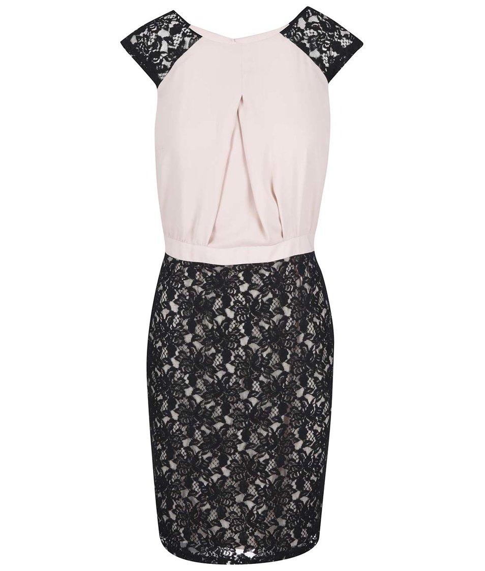 Krémové šaty s černou krajkou Dorothy Perkins