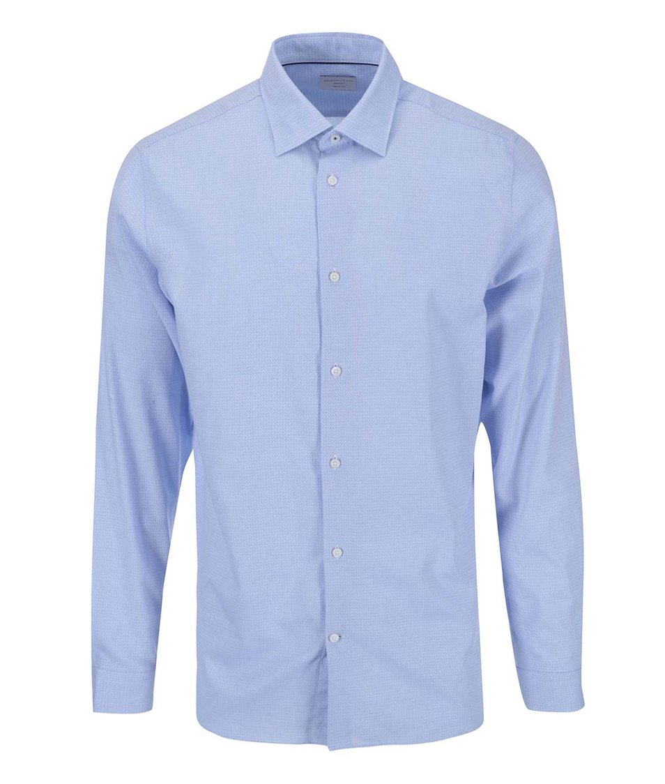 Světle modrá vzorovaná formální košile s kapesníčkem Selected Homme Jim