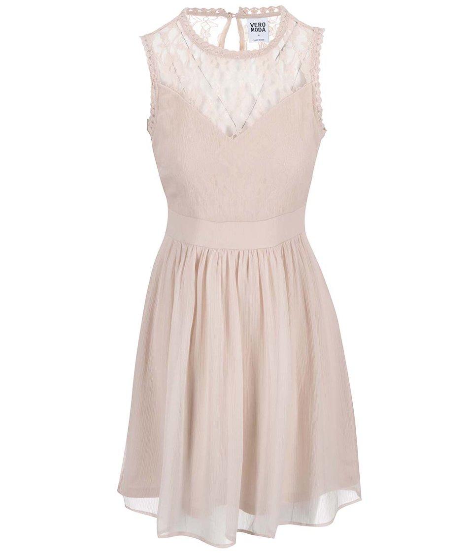 Pudrově růžové šaty s krajkovým detailem Vero Moda Aya
