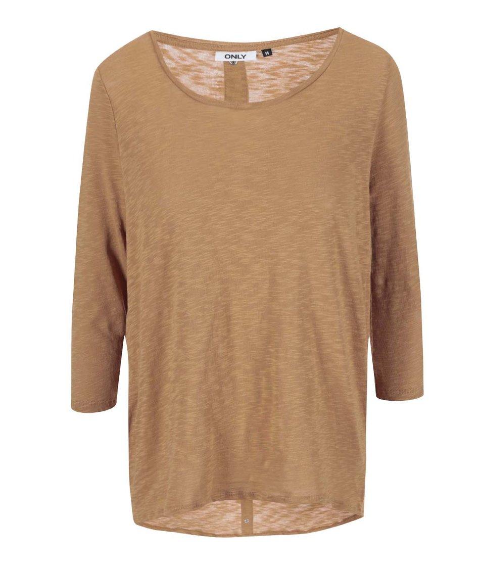 Světle hnědé tričko s 3/4 rukávem ONLY Casa
