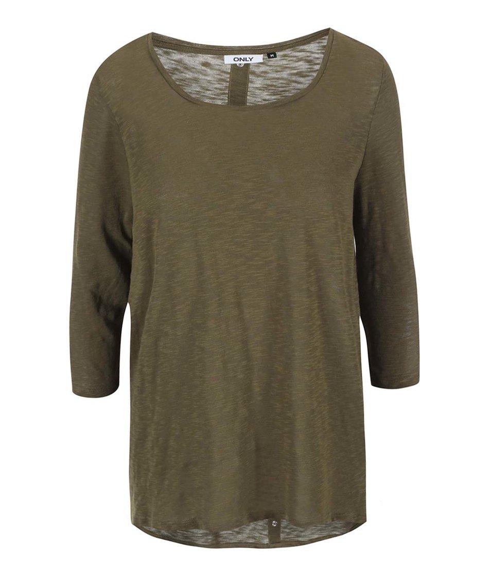 Khaki tričko s 3/4 rukávem ONLY Casa