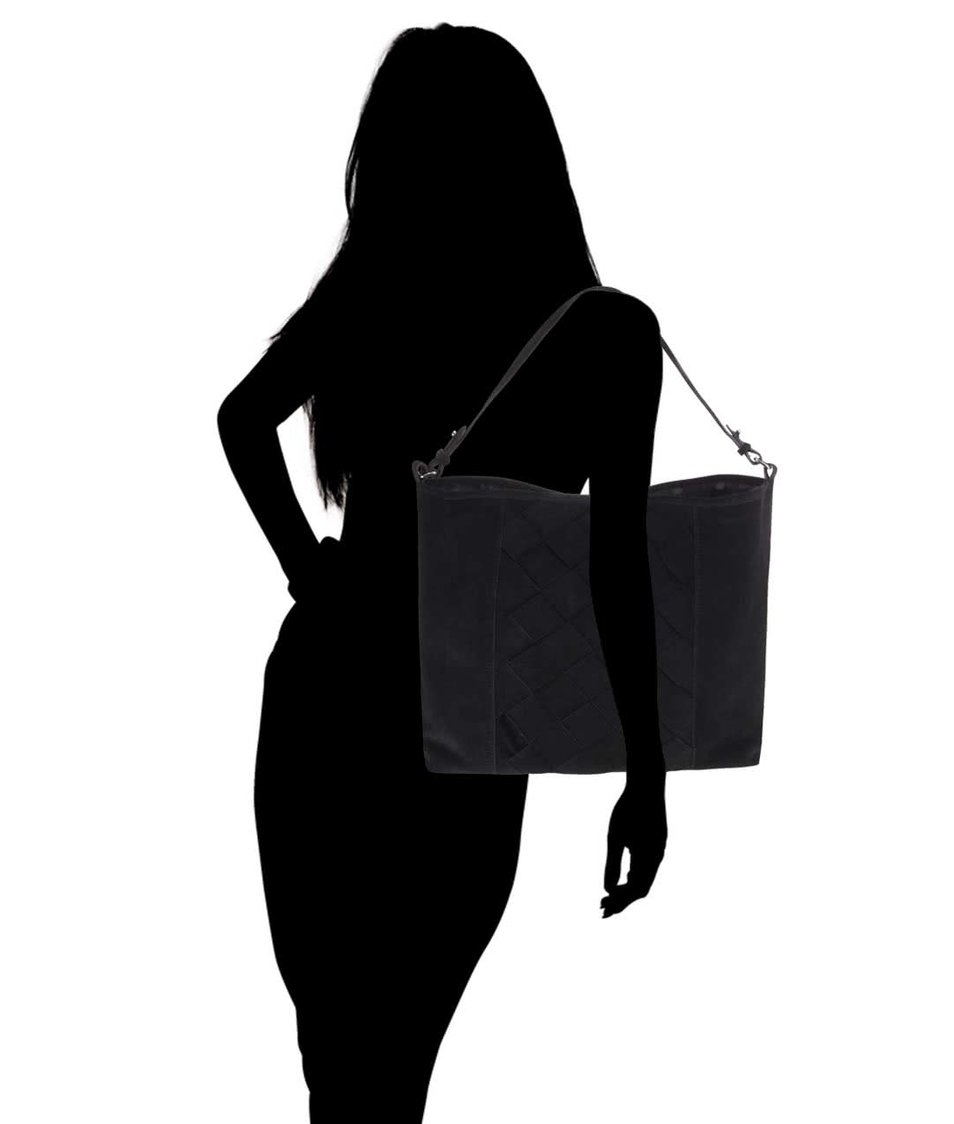 Černá kožená kabelka Pieces Jessie